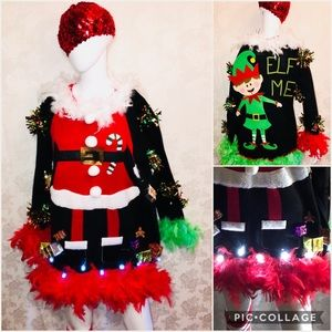 sweaters ugly christmas sweater light up double sided